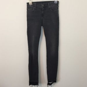 True Religion Halle Mid Rise Gray Raw Hem Jeans